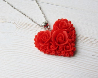 Red heart necklace Heart necklace red rose Heart pendant polymer clay Jewelry handmade Red necklace