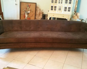 Mid Century Modern Vintage 1960s Rich Brown Suede Dunbar Attributed Sofa  Tufted 92 Inches Long Sexy