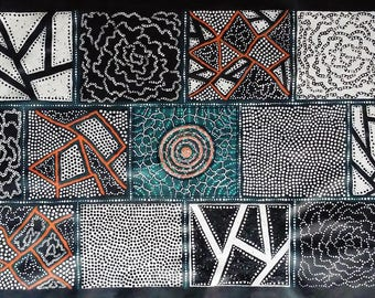 Aboriginal Art Geometric Squares Bush Onion Abstract Dot Painting, Authentic & Original, by Aboriginal artist Japananga Hudson, includes COA