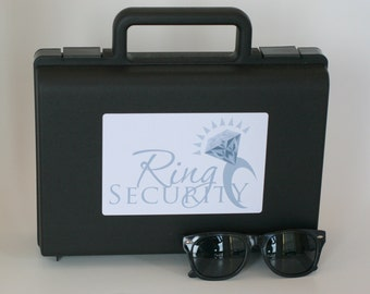 Silver Ring Security Briefcase with Sunglasses -- Ring Bearer Gift, Ring Bearer Box Pillow Alternative