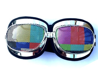 Tv test pattern print graphic Scooter-style graphic fesival goggles
