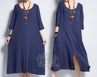 Anysize front slit soft linen & cotton dress plus size dress plus size tops plus size clothing spring summer dress clothing Y142
