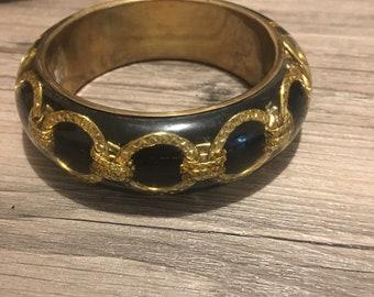Vintage Black acrylic with gold chain bangle bracelet