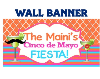 Fiesta Banner ~ Personalize Party Banners Indoor or Outdoor Cinco De Mayo