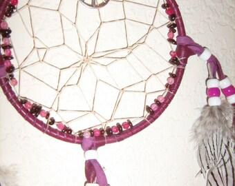 Dreamcatcher Pansy Bouquet surrounded by garnet gemstones, handpainted custom leather dreamcatcher silver pheasant