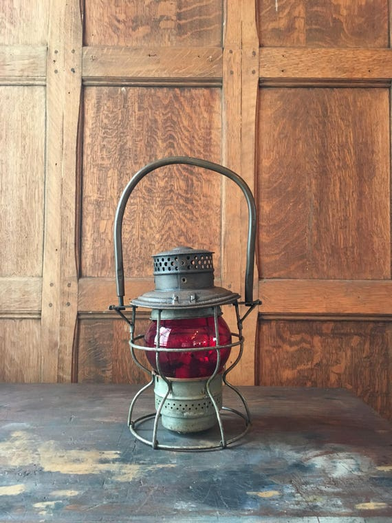 Vintage Railroad Lantern, Adams & Westlake Co. Red Globe Lantern, Lantern Decor