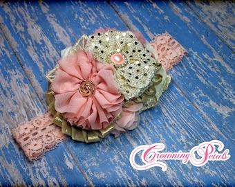 Blush, Gold, Ivory Flower Girl Hair Piece, Light Pink Fabric Flower Hair Clip, Flowergirl Headband, Baby Hair Accessory, Hairbow, Brooch