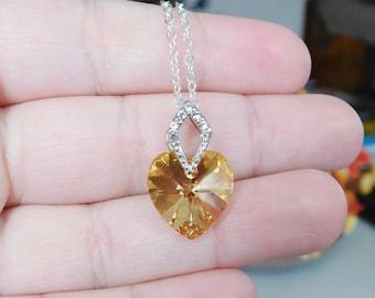 Swarovski Heart Necklace , Gold Heart Pendant , Swarovski Crystal Necklace