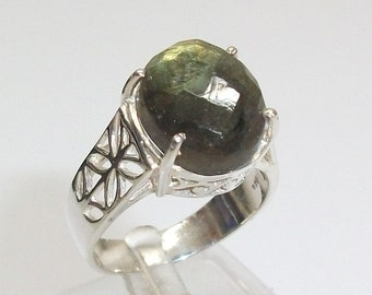Ring old silver ring 925 Silver tourmaline gemstone green vintage SR149