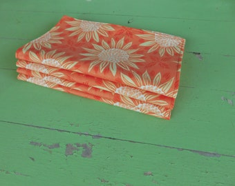 Everyday Cloth Napkins, Set of 4, Orange/Yellow, Orange Sunflowers