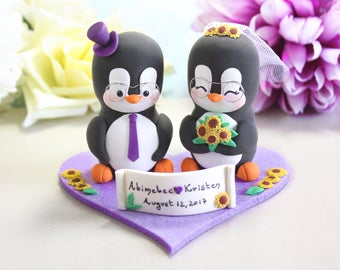 Unique wedding cake topper Penguins + felt base/stand - rustic bride groom cake toppers wedding sunflowers purple elegant eyeglasses