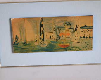 Vintage 50s Raoul DUFY painting reproduction, blue leatherette frame