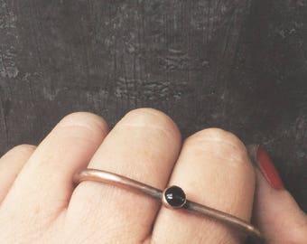 Onyx//Copper 2 finger ring