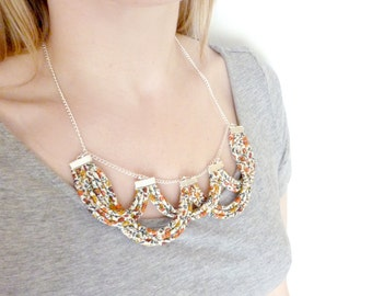 Statement Bib Necklace - Scallop Necklace - Liberty Print Jewelry - Rope Jewelry - Floral Strand Necklace - Bridal Necklace - Gifts For Her