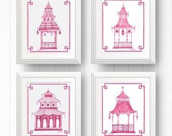 Pagoda Wall Print, Pagoda Print Set, Pink Pagoda Art, Pink Chinoiserie Print, Pagoda Picture, Preppy Pagoda, Pink Asian Art