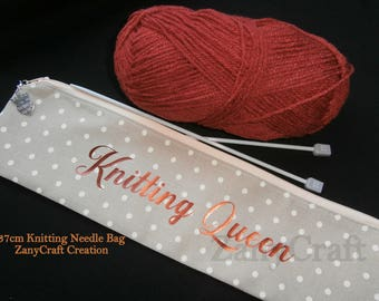 Handmade Knitting Queen 37cm Knitting Needle Case With Zip Charm Cotton Zip Case Only Can Be Personalised