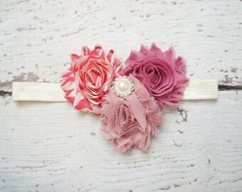 Shabby rosette vintage headband, baby headband, dusty rose headband, girl headband, rosewood headband, shabby headband, newborn headband
