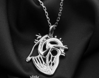 Anatomical Heart Necklace-Medical Jewellery-Medstudent Gift-Anatomy Jewellery-Love Gift-Brooch Gift-Nerd Jewellery-Biology Gift
