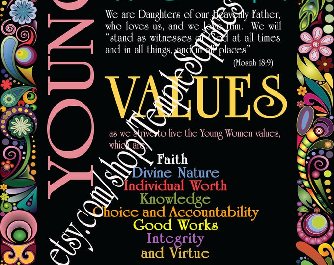 POSTERS - Large Printed Posters! LDS YW Young Women Theme Personal Progress Values