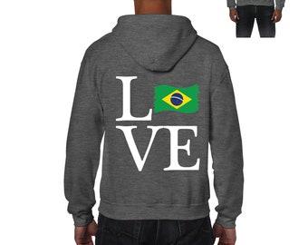 Love Brazil  Men Full-Zip Hooded Sweatshirt