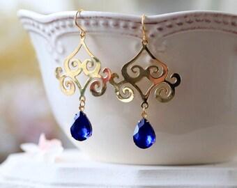Sapphire Blue Teardrop Jewels Gold Filigree Earrings, Sapphire blue Wedding Chandelier Earrings, Statement Dangle Earring, Persian Jewelry