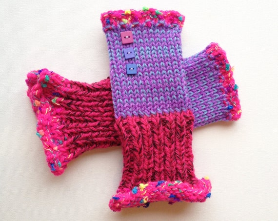 Fingerless Handwarmers - Fuchsia Frilly Fingers - Pink and Purple Fingerless Mittens