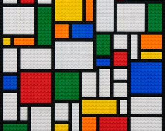 Mosaic Mondrian-style abstract mosaicmade from Lego® bricks.