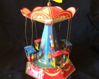 Vintage Tin Toy, Lever Motivated Toy, Turning Carousel, Carnival Ride, Made in Germany