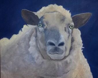 Animal Painting - Sheep Painting - Sheep Portrait - Original Oil Painting - Sheep Decor - Farm Animal Art - Home Decor - Farm animals - Oil