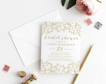 Printable Invitation - Gold Glitter Whimsical Bridal Shower Invitation, Wedding Shower, Baby Shower Invitation