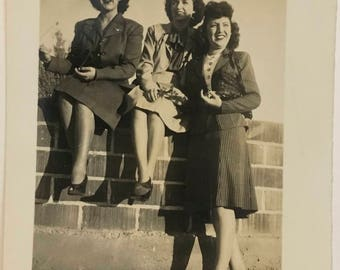"Vintage Photo ""The Dixie Girls"" Snapshot Antique Black & White Photograph Paper Found Ephemera Vernacular Interior Design Mood - 56"