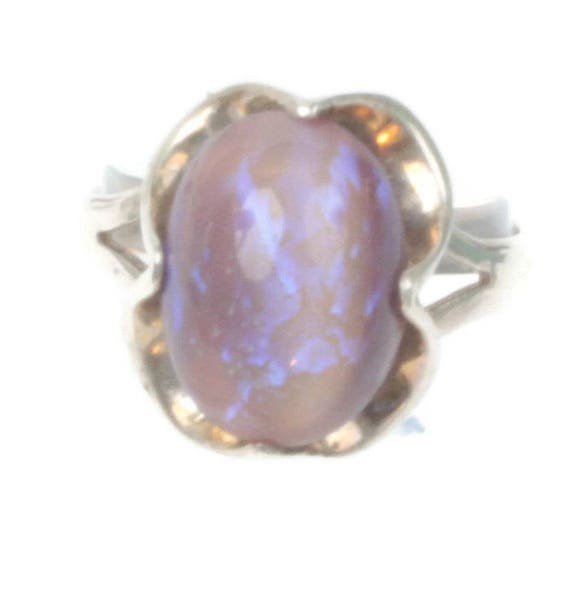 Fire Opal Sterling Ring Art Glass Cabochon Size 8 Vintage Purple Lavender Stone Ring