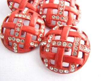 1 inch Large red metal buttons with rhinestones, Openwork mmetal shank buttons, unused!!