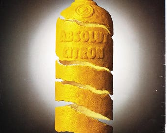 ABSOLUT APPEAL vintage vodka ad for Absolut Citron, copyright 1995, magazine back cover, advertisement, Distillery Advertisement fsb