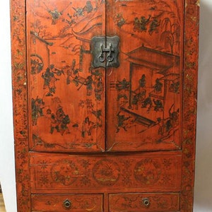 Exceptionnel ANTIQUE 18th Century ASIAN ARMOIRE Wardrobe Cabinet 100 To 120 Years Old  From Shanxi Original Oriental