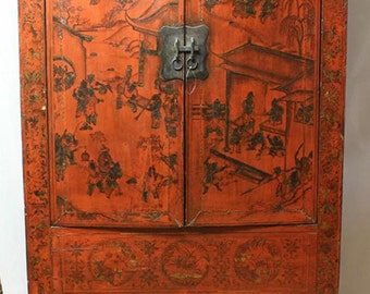 ANTIQUE 18th Century ASIAN ARMOIRE Wardrobe Cabinet 100 To 120 Years Old  From Shanxi Original Oriental