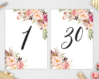 Table Numbers 1-30 // INSTANT DOWNLOAD // 5x7 // Printable // Wedding // Bridal Shower // #PBP90