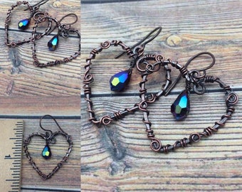 Red Garnet AB Colored Crystal Heart Earrings Wire Wrapped Antique Copper, Free Shipping, Ready to Ship, January Birthstone