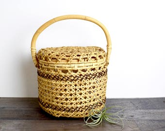 Vintage wicker box…rattan box...woven box...woven basket with attached lid...two tone wicker basket with lid...rattan basket.