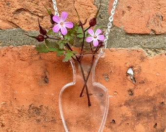 Laser Cut Acrylic Vase Necklace Vase Of Flowers Cute Summer Necklace Statement Novelty Necklace