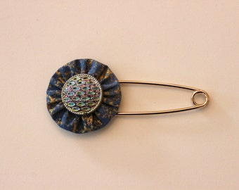 Gold and Blue Metallic Print Fabric Yo Yo With Czech Glass Button Shawl Pin