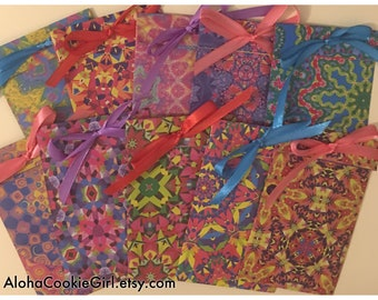 Handmade Paper Treat Bag Loot Pouch Party Favor Kaleidoscope Prints Satin Ribbon set of 10