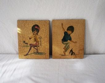 Two Vintage Placques / Columbian Children 60s Art