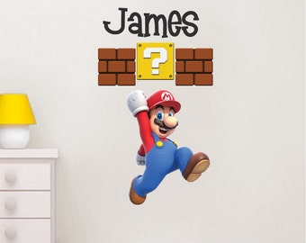 Super Mario Wall Decal, Nintendo Wall Decal, Personalized Wall Decal, Removable Mario Wall Design, Mario Brothers Wall Decor, Mario Art, b99