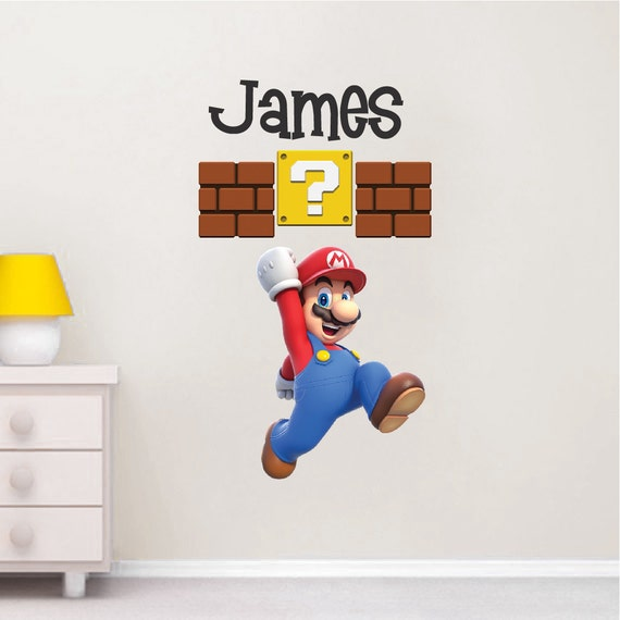 sc 1 st  Etsy & Super Mario Wall Decal Nintendo Wall Decal Personalized Wall