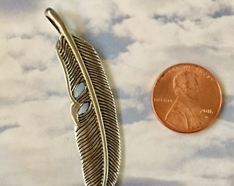 Feather Pendant Antiqued Silver Pewter  Curved