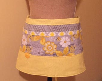 Apron - Yellow and Gray Floral Vendor / Waitress Apron