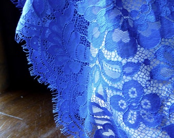 COBALT BLUE Eyelash Chantilly Lace Wide Trim for Garments, Bridal, Sashes, Millinery or Costumes CH 510cb