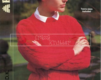 Teen Lady's Cable Sweater 30-40in DK Patons 8075 Vintage Knitting Pattern PDF instant download