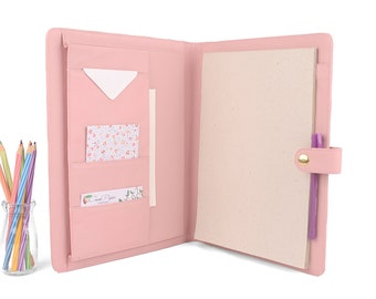 OXFORD- A4 Leather PadFolio / Portfolio Multiple Pockets, Snap Closure, Personalize. Available in different colors.